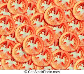 tomaat, achtergrond, schijfen