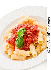 tomaat, basilicum, saus, pasta