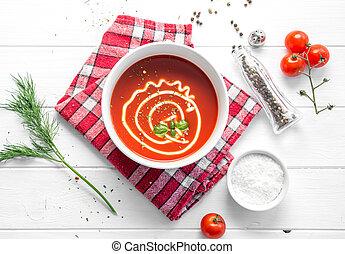 tomaat, basilicum, soep, met, mayo, topview