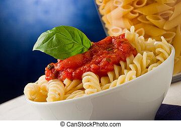 tomaat, blauwe , basilicum, achtergrond, pasta saus