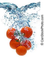 tomaat, deeply, dalingen, water, onder