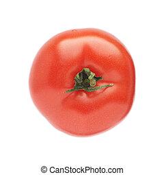 tomaat, dof, achtergrond., ondiepe focus, vrijstaand, top., fris, wit rood