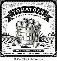 tomaat, etiket, black , retro, witte , oogsten, landscape