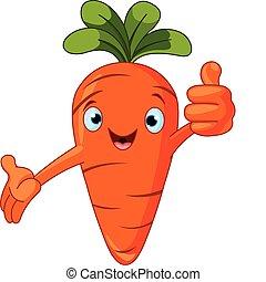 tomaat, geven, karakter, beduimelt omhoog