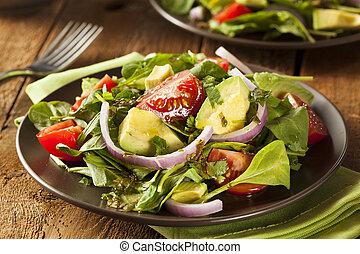 tomaat, groene, organisch, slaatje, avacado