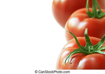 tomaat, in, dichtbegroeid boven