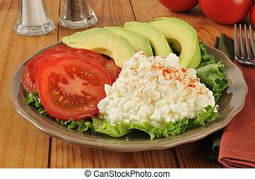 tomaat, kaas, huisje, avocado