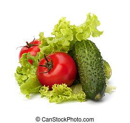 tomaat, komkommer, groente, en, sla, slaatje