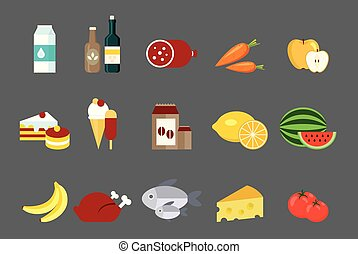 tomaat, melk, visje, room, voedingsmiddelen, citroen, appel, worst, ijs, taart, producten, chicken, wortel, verzameling, illustraties, banaan, gebraden, vector, watermeloen, kaas