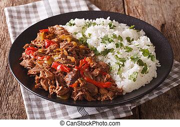 tomaat, mexicaanse , vieja:, rundvlees, voedingsmiddelen, groentes, ropa, stoofvlees, rice., horizontaal, saus