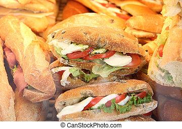 tomaat, mozzarella, sandwiches