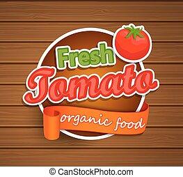 tomaat, organisch voedsel, -, label., fris