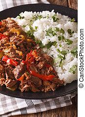 tomaat, rijst, verticaal, vieja:, rundvlees, groentes, ropa, stoofvlees, close-up., garneren, saus