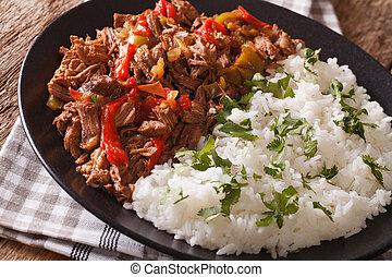 tomaat, rijst, vieja:, rundvlees, groentes, macro., ropa, stoofvlees, horizontaal, garneren, saus