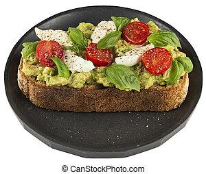 tomaat, schaaltje, broodje, avocado, vrijstaand, white., mozzarella