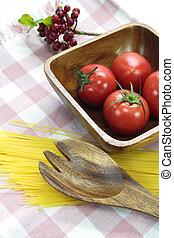 tomaat, schaaltje, hout