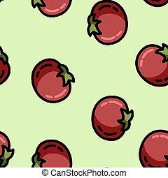 tomaat, schattig, stijl, plat, model, seamless, spotprent
