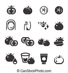 tomaat, set, pictogram