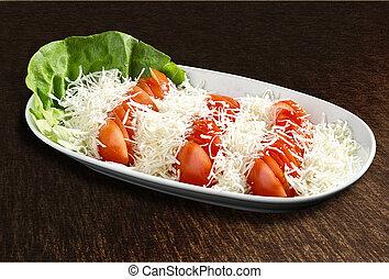 tomaat, slaatje, met, kaas