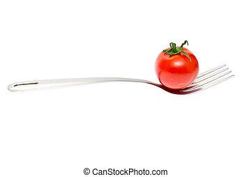 tomaat, vork, kers, vrijstaand, achtergrond, fris, witte