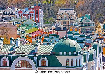 tomado, coloreado, beautiufl, edificios, kiev, primavera, ...