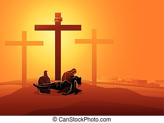 tomado, jesús, abajo, cruz