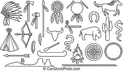tomahawk, catcher), set, indiani, linea, cavallo, paesaggio, icone, pace, canoa, capo, freccia, bisonte, nativo, cactus, magro, wigwam, (bow, falò, serpente, acconciatura, americano, ascia, tubo, sogno