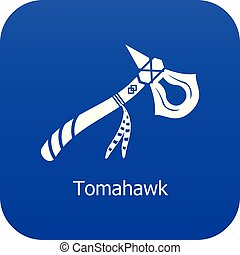 Tomahawk icon blue vector isolated on white background