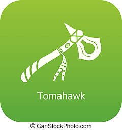 Tomahawk icon green vector isolated on white background