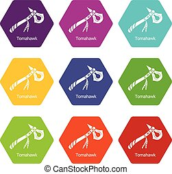 Tomahawk icons set 9 vector - Tomahawk icons 9 set coloful...