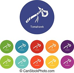 Tomahawk icons set vector color - Tomahawk icons color set...