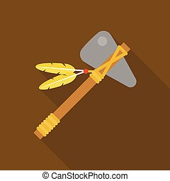 tomahawk native american axe with feather illustration...