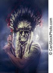 tomahawk, tribe., amerikanische , oberhaupt, indische ,...