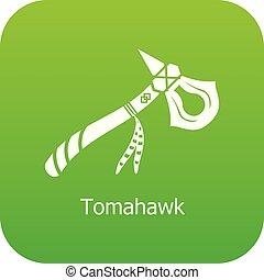 tomahawk, vecteur, vert, icône