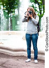 tomar las fotos, niña, viaje, durante