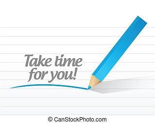 tomar, tempo, por si, mensagem, ilustração, desenho