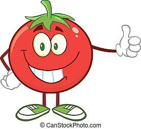 tomat, give, smil, tommelfinger oppe