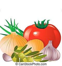 tomat, oliv, vitlök lök