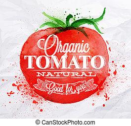 tomate, acuarela, cartel