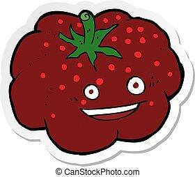 tomate, adesivo, caricatura, feliz