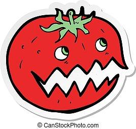 tomate, adesivo, caricatura