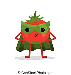 tomate, akimbo, carácter, brazos, posición, máscara, verde, capa, caricatura, pantalones rojos