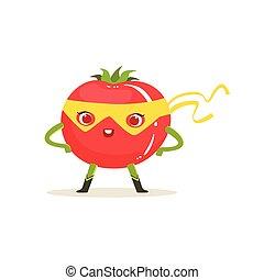 tomate, akimbo, superhero, carácter, brazos, caricatura