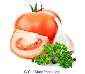 tomate, alho fresco, vermelho