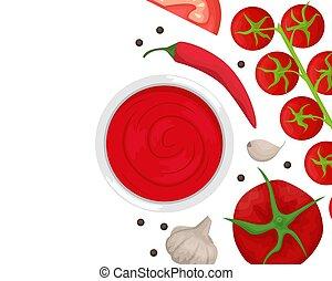 tomate, apartamento, sauce., pepper., ingredientes, lay., cereja, ketchup, tomates, alho, pimentão, pretas