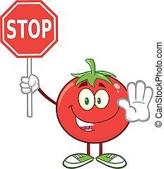 tomate, arrêt, tenue, signe