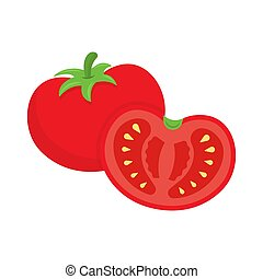 tomate, blanc, vecteur, fond, illustration