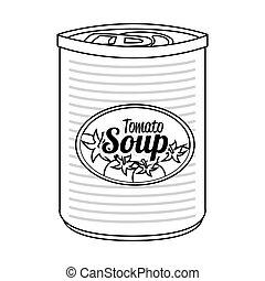 tomate, boîte, illustration., isolé, vecteur, icône, savon