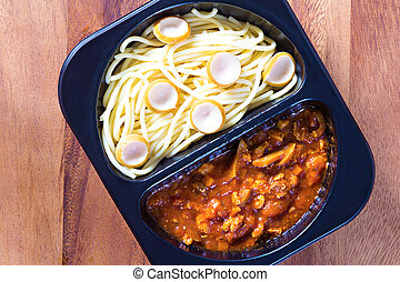 tomate, boîte, spaghetti, plastique, sauce, rouges