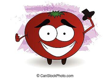 tomate, caractère, illustration, frais